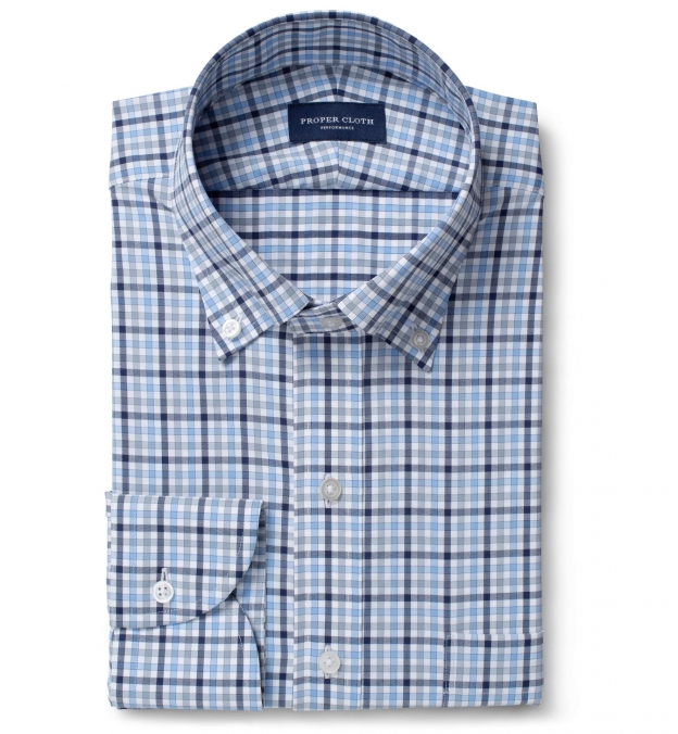 Performance Light Blue Navy and Grey Multi Check