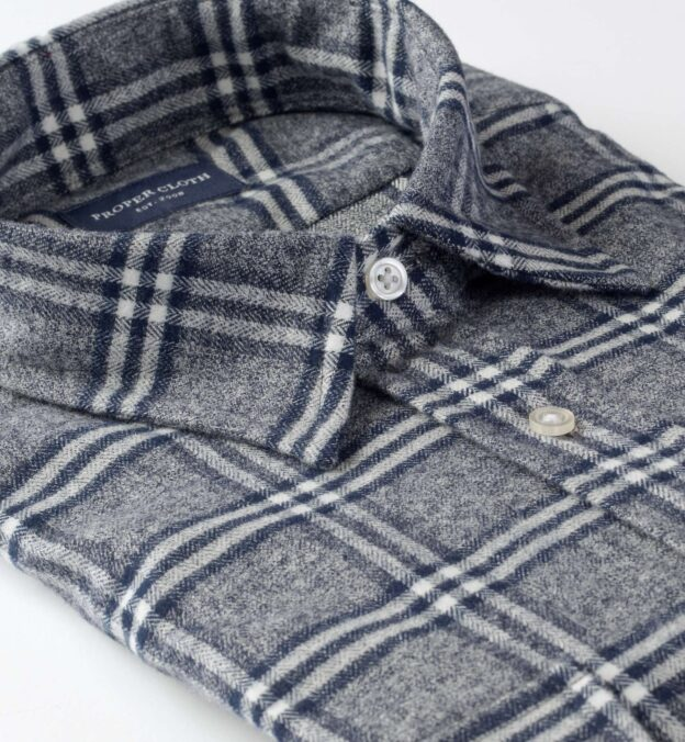 Sierra Slate and White Plaid Flannel