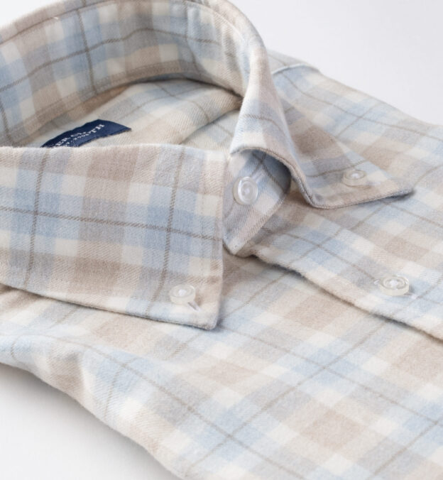 Beige and Frost Plaid Cotton and Wool Flannel