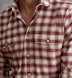 Thomas Mason Cranberry and Off White Plaid Flannel Shirt Thumbnail 4
