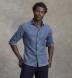 Slate Blue Melange Gingham Donegal Flannel Shirt Thumbnail 2