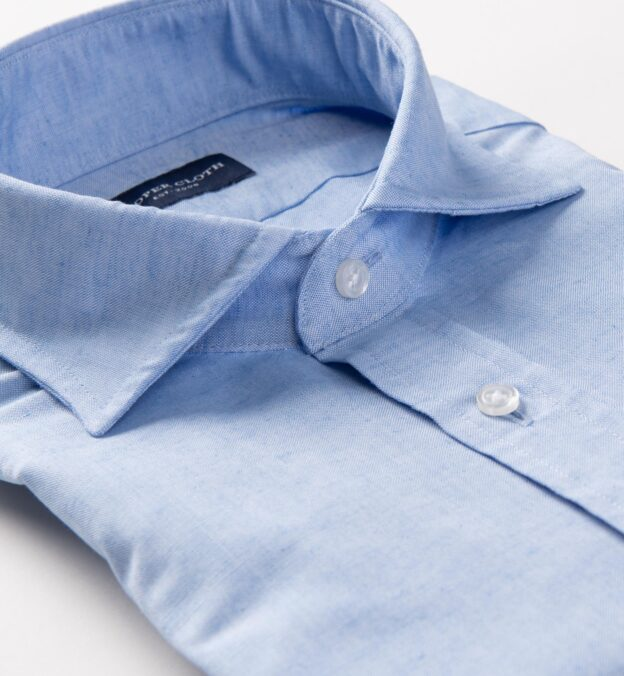 Antimicrobial Blue Linen Blend Oxford