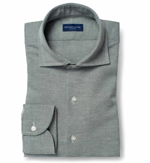 Thomas Mason Washed Sage Melange Cotton Linen Oxford