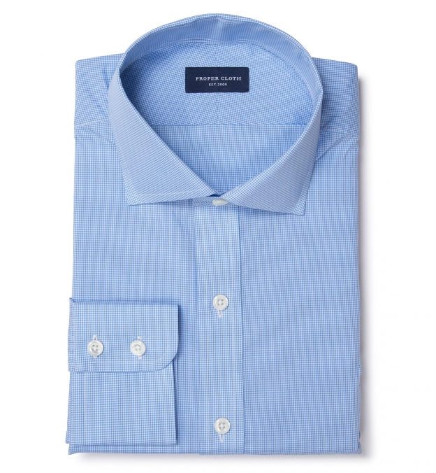 Canclini 140s Light Blue Micro Check Fitted Dress Shirt