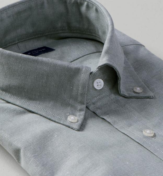 Thomas Mason Washed Sage Melange Cotton Linen Oxford