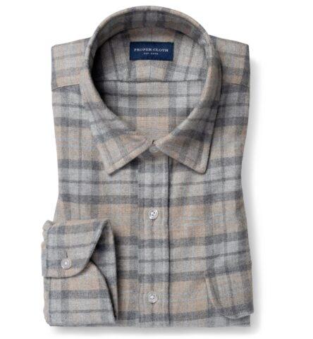 Teton Beige and Light Grey Plaid Flannel