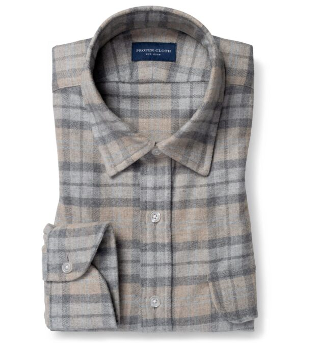 Teton Beige and Light Grey Plaid Flannel