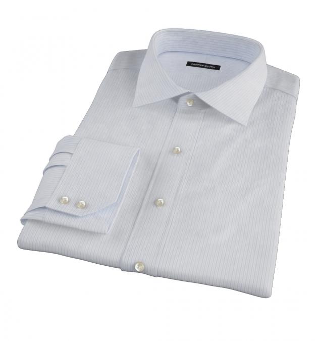 Wrinkle Resistant Light Blue Multi Stripe Tailor Made Shirt