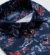 Albini Navy and Red Floral Print Tencel Shirt Thumbnail 2