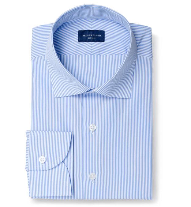 140s Light Blue Wrinkle-Resistant Pencil Stripe Dress Shirt