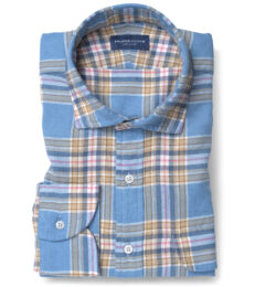 Japanese Cornflower and Gold Cotton and Linen Plaid