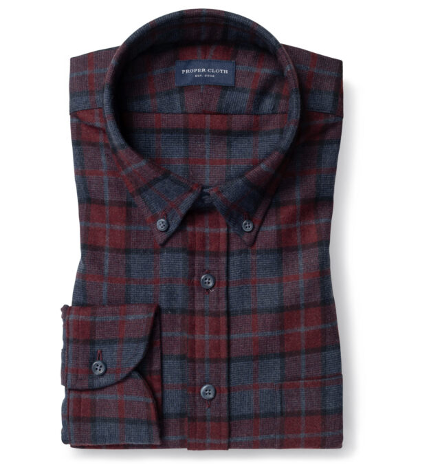 Canclini Red and Navy Plaid Beacon Flannel