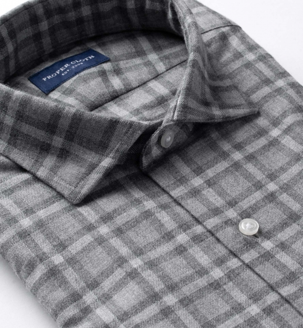 Stowe Light Grey Melange Plaid Flannel