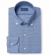 Reda Blue Small Check Merino Wool Shirt Thumbnail 1