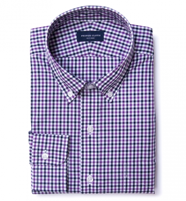 Purple and Navy Gingham Fitted Dress Shirt