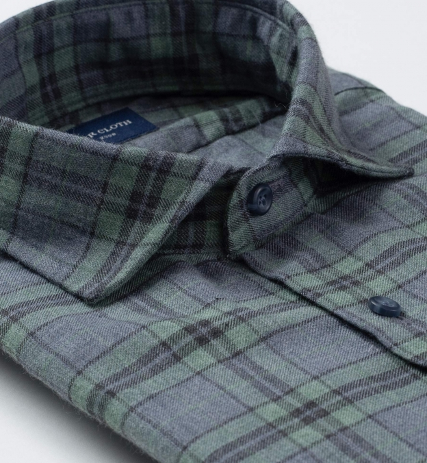 Satoyama Sage and Slate Blue Plaid Flannel