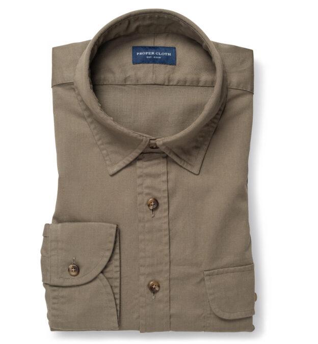 Albiate Khaki Washed Cotton and Linen Denim