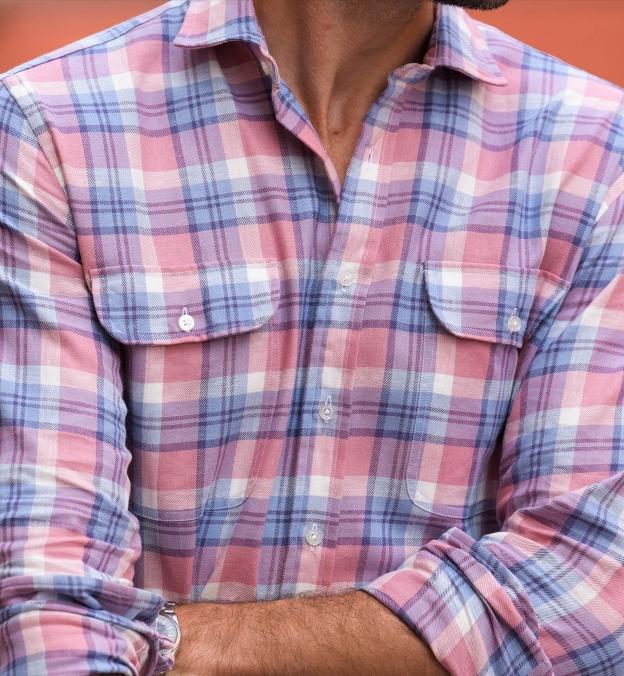 Mesa Light Blue and Rose Cotton Linen Vintage Plaid