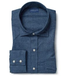 Canclini Glacier Blue Herringbone Beacon Flannel Dress Shirt