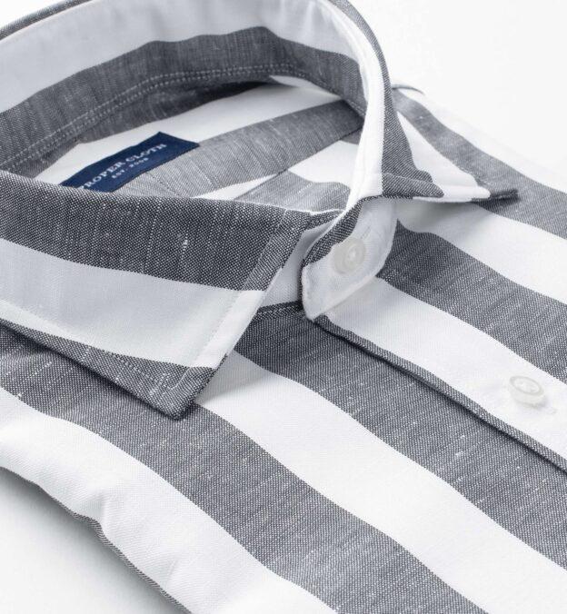 Portuguese Black Extra Wide Stripe Cotton Linen Oxford