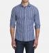 Thomas Mason Washed Slate Vintage Stripe Cotton Linen Oxford Shirt Thumbnail 3