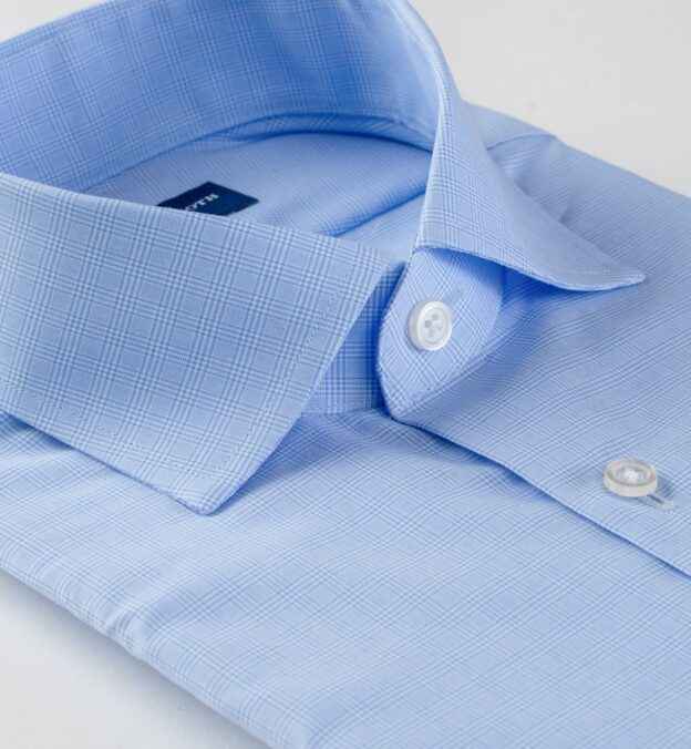 Waverly Light Blue 120s Small Prince of Wales Check