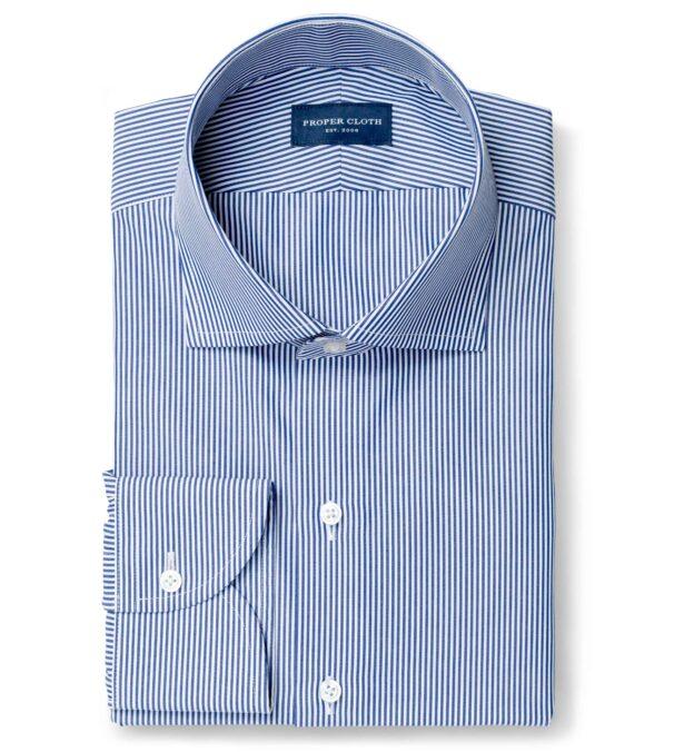140s Navy Wrinkle-Resistant Pencil Stripe Custom Dress Shirt