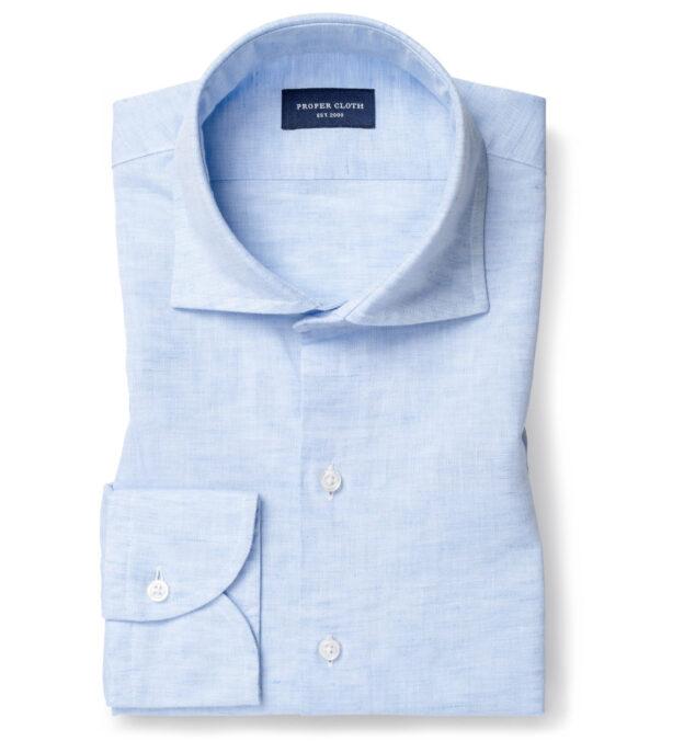 Portuguese Light Blue Cotton Linen Oxford