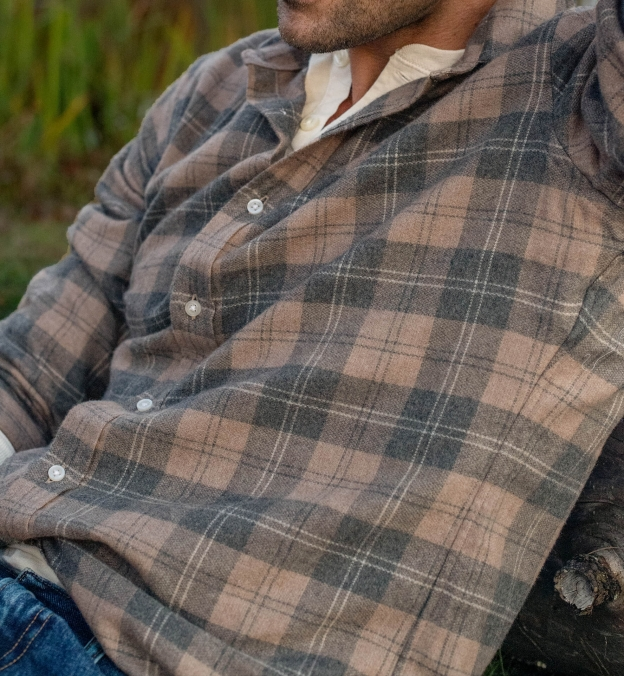 Canclini Beige and Grey Plaid Beacon Flannel
