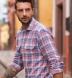 Mesa Light Blue and Rose Cotton Linen Vintage Plaid Shirt Thumbnail 3