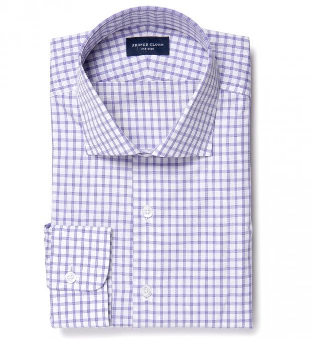 Thomas Mason Lavender Grid Custom Dress Shirt