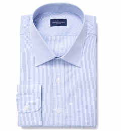 Thomas Mason Blue Small Grid Custom Dress Shirt