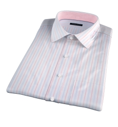 Varese 140s Light Blue and Coral Multi Stripe Short Sleeve Shirt