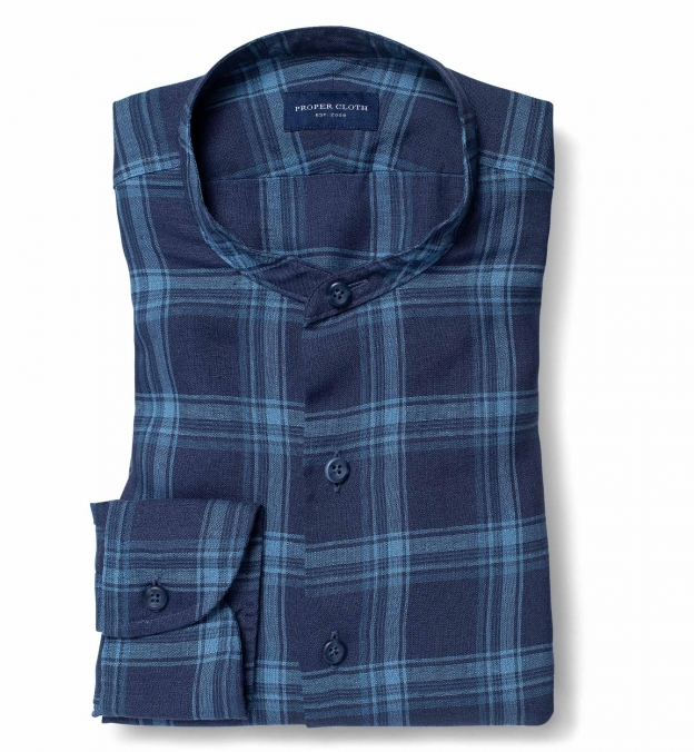 Portuguese Washed Navy and Light Blue Shadow Plaid Linen