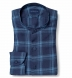 Portuguese Washed Navy and Light Blue Shadow Plaid Linen Shirt Thumbnail 1