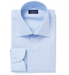 Morris Wrinkle-Resistant Light Blue Small Check Fitted Dress Shirt