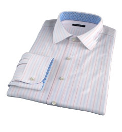 Varese 140s Light Blue and Coral Multi Stripe Tailor Made Shirt