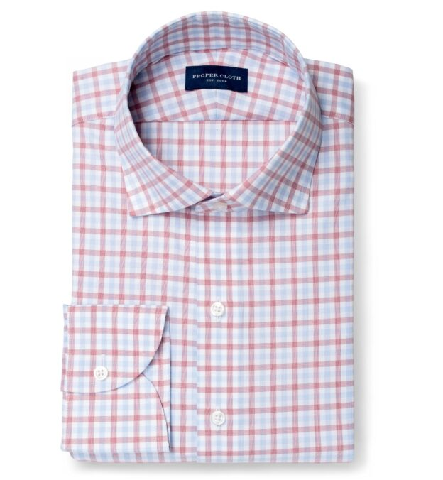 Cooper Red and Blue Check Stretch Twill
