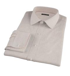 Tan Cotton Linen Gingham Dress Shirt