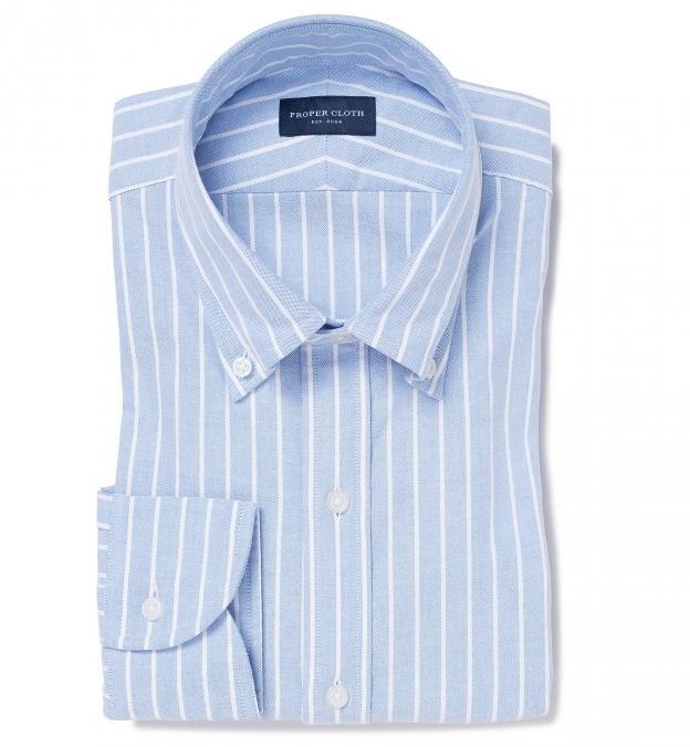 Light Blue Wide Stripe Heavy Oxford
