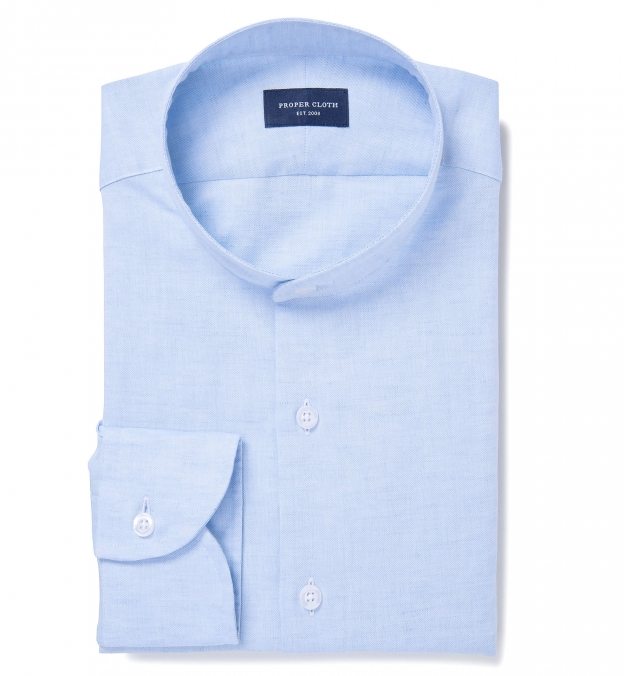 Portuguese Light Blue Cotton Linen Oxford