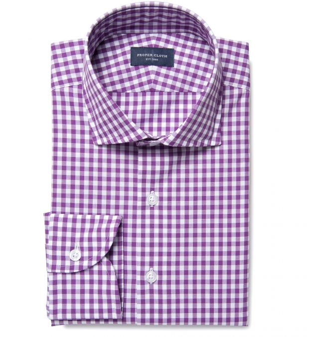 Lavender Large Gingham Custom Made Shirt