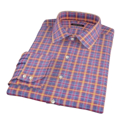 Yellow Blue Lewis Plaid Flannel Fitted Dress Shirt