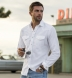 White Cotton and Linen Oxford Western Shirt Shirt Thumbnail 3