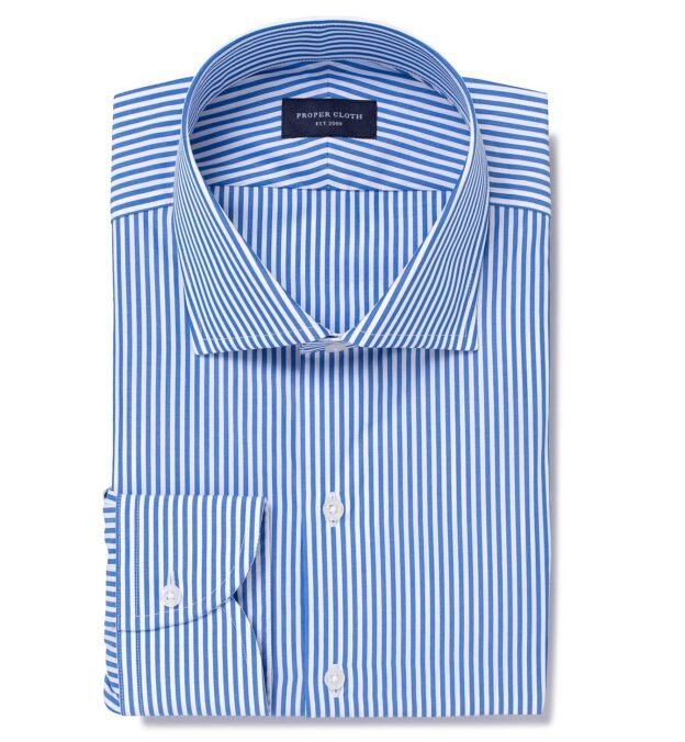 140s Blue Wrinkle-Resistant Bengal Stripe