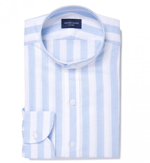 Portuguese Light Blue Wide Stripe Cotton Linen Blend