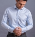 Non-Iron Supima Light Blue End-on-End Check Shirt Thumbnail 3