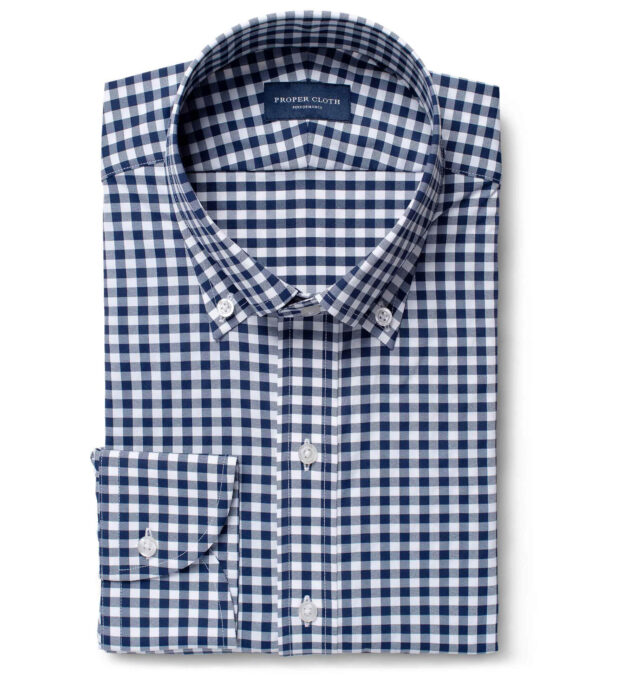 Performance Four Way Stretch Navy Blue Gingham