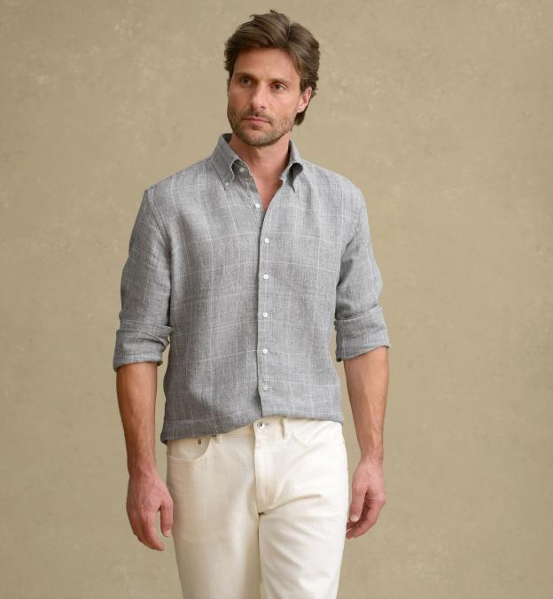 Tessuti di Sondrio Light Grey Prince of Wales Linen