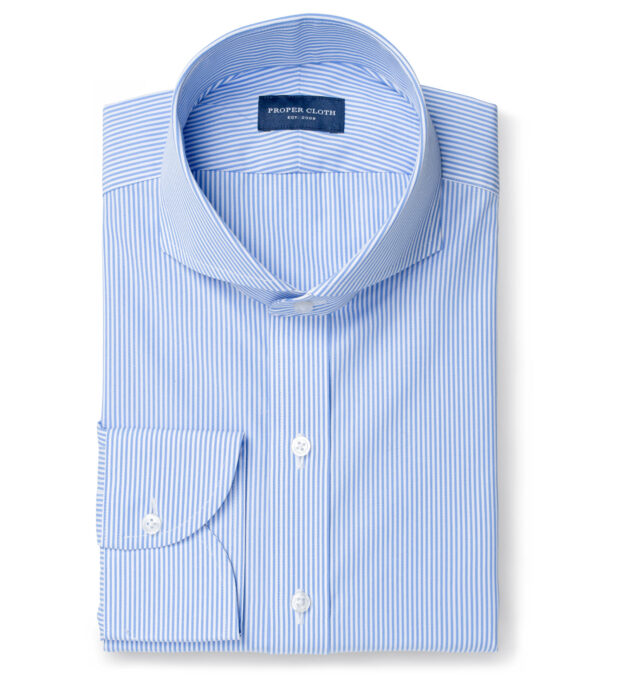 140s Light Blue Wrinkle-Resistant Pencil Stripe Tailor Made Shirt